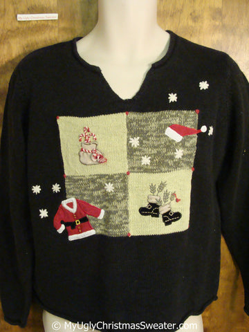 Cheap Tacky Christmas Sweater with Santas Clothes