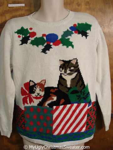 Fun Cat Themed 80s Ugly Christmas Sweater