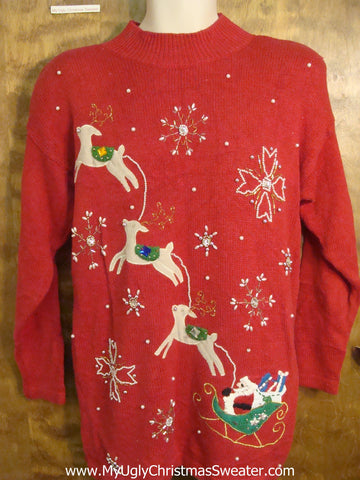 Flying Reindeer 80s Red Christmas Sweater
