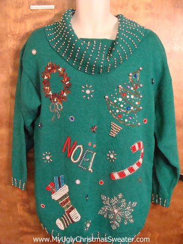 Tacky 80s Glam Christmas Sweater