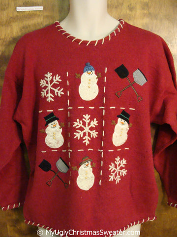 Red Tacky Christmas Sweater with Snowmen