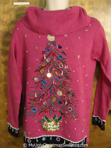 Best 80s Tacky Christmas Sweater with Tree and Bling