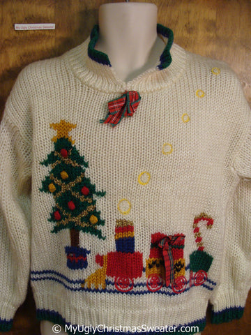 Fun 80s Pullover Christmas Sweater with Tree and Toy Train