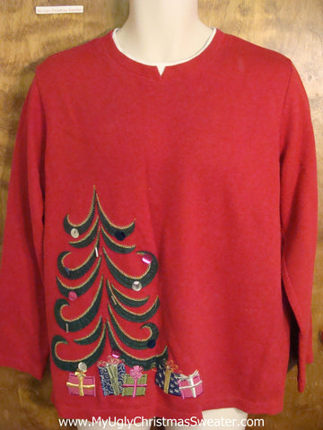 Tacky Red Christmas Sweater with Bad Tree
