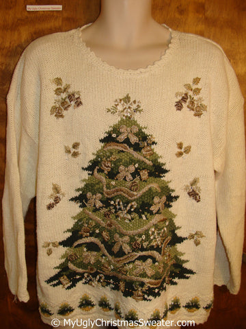 Tacky Christmas Sweater with Tree and Padded Shoulders