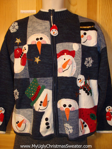 Tacky Cheap Ugly Christmas Sweater with Carrot Nosed Snowmen (f539)