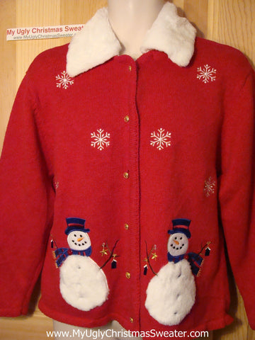 Tacky Ugly Christmas Sweater with Snowmen and Fawx Fur Collar (f53)