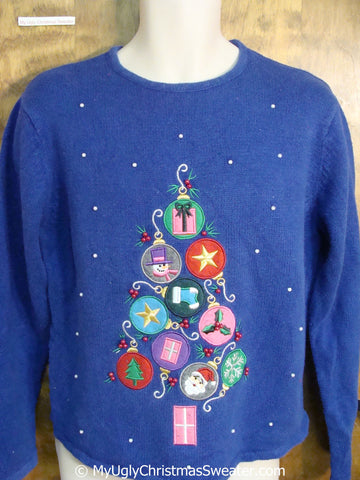 Christmas Sweater with Colorful Ornaments in Tree Shape