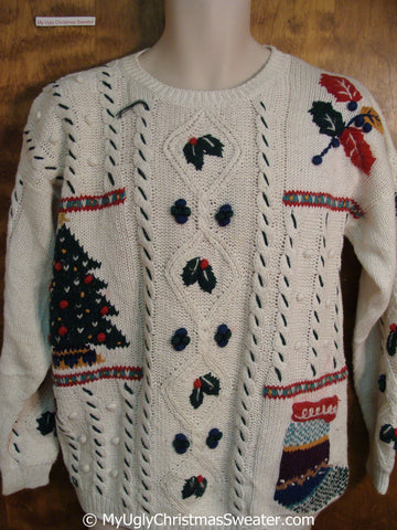 Christmas Sweater with Tree Stocking and Ivy