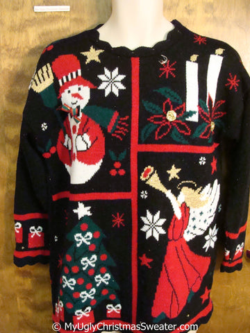 80s Christmas Sweater with Angel Snowman Tree and Candles