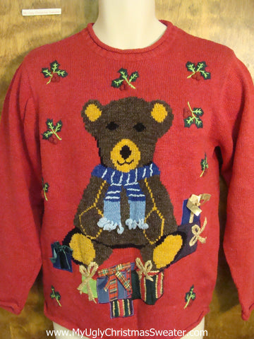 Cute Teddy Bear Red Christmas Sweater