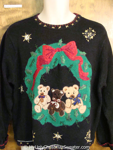 Christmas Sweater with Wreath with Three Teddy Bears