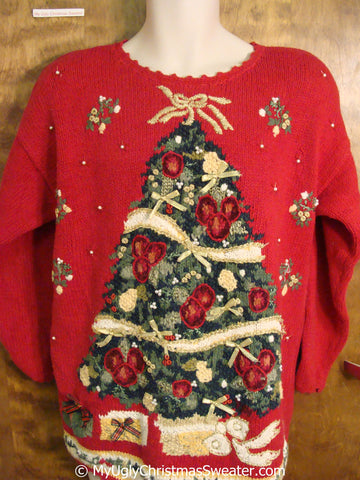 Vintage Christmas Sweater with Huge Festive Tree