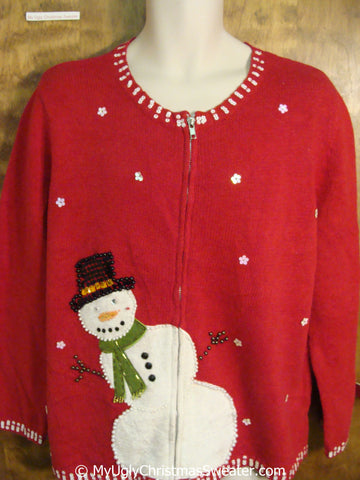 Red Christmas Sweater with Peaking Snowman Leaning