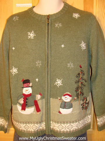 Tacky Cheap Ugly Christmas Sweater with Snowmen in a Winter Wonderland (f540)