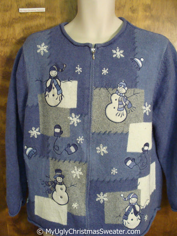 Blue Christmas Sweater with Patchwork Snowmen
