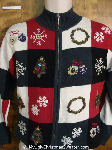 Christmas Sweater with Front and Back Decorations