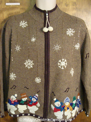 Brown Christmas Sweater with Dancing Snowmen