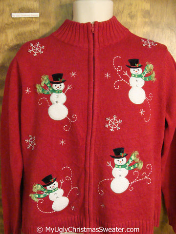 Red Christmas Sweater with Four Happy Snowmen