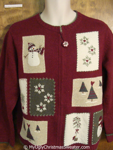 Christmas Sweater with Patchwork Snowmen and Trees