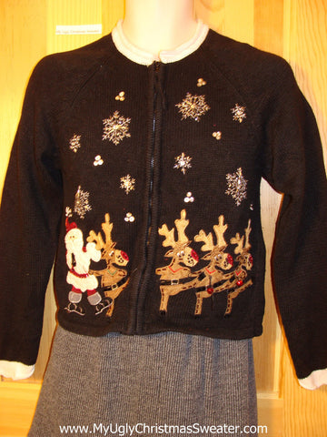 Child Size (or XS Adult) Tacky Cheap Ugly Christmas Sweater with High Kicking Dancing Reindeer (f541)