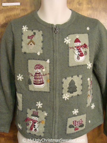 Green Christmas Sweater with Patchwork Snowmen
