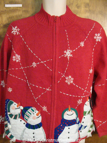 Four Carrot Nosed Snowmen on a Christmas Sweater