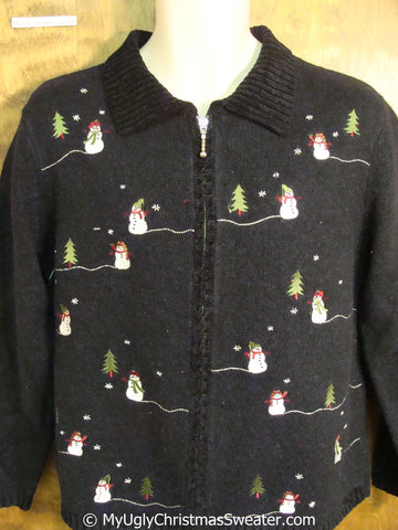 Cheap Black Christmas Sweater with Little Snowmen