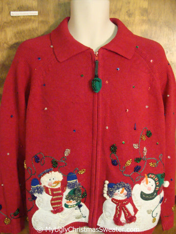 Two Sided Red Christmas Sweater with Snowmen