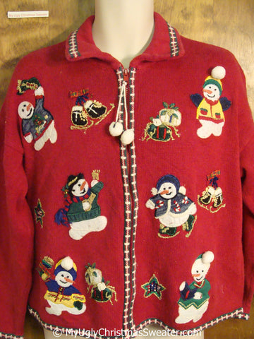 Christmas Sweater with Happy Snowmen Skating