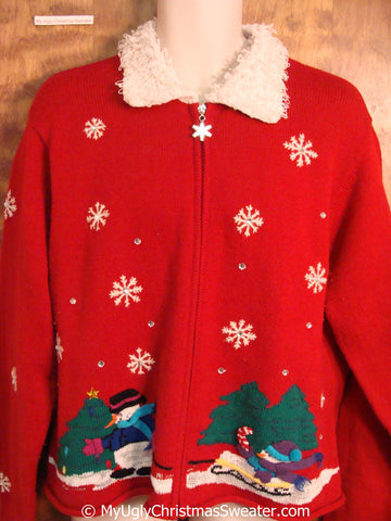 Red Christmas Sweater with Fluffy Collar