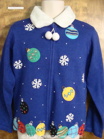 Blue Christmas Sweater with Colorful Ornaments