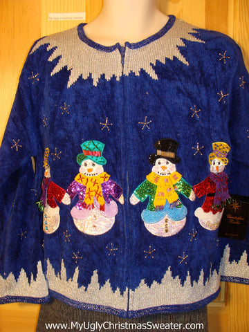 Tacky Ugly Christmas Sweater with 80s Bling Snowmen and Snowflakes on Front and Back (f542)