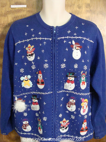 Rows of Fun Festive Snowmen Christmas Sweater