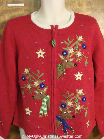 Peaking Reindeer Red Christmas Sweater