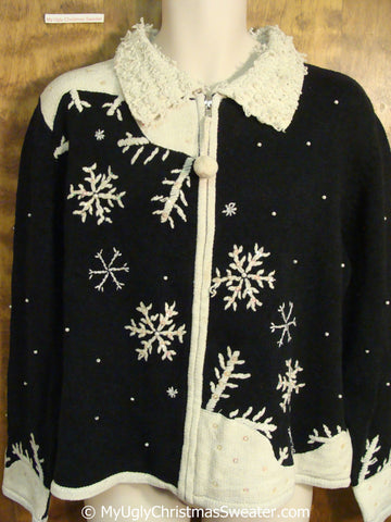 Festive Black and White Christmas Sweater