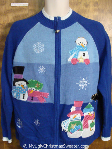 Blue and Pink Christmas Sweater with Snowman