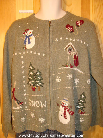 Tacky Cheap Ugly Christmas Sweater with Two Sided Front and Back Snowmen (f543)