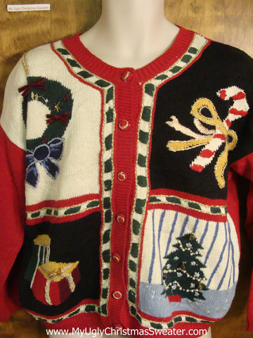 80s Patchwork Patterned Ugly Xmas Sweater
