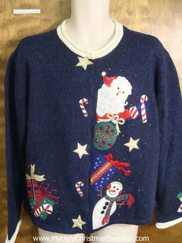 Happy Santa and Snowman Ugly Xmas Sweater