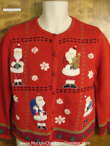 Red Patchwork Santa Ugly Xmas Sweater