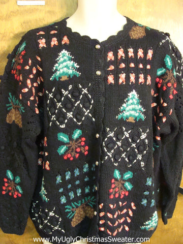 Ugly Xmas Sweater with Tree and Holly Designs