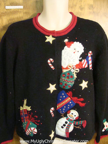 80s Jolly Santa and Snowman Ugly Xmas Sweater
