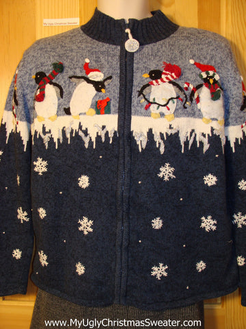 Tacky Cheap Ugly Christmas Sweater with Festive Penguins on Front and Back (f544)