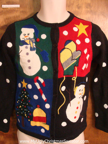 Festive Ugly Xmas Sweater with Jolly Snowman