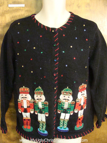 Bling Sequins Nutcracker Ugly Xmas Sweater