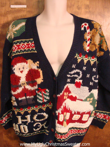 Santa Delivering Presents 80s Ugly Xmas Sweater