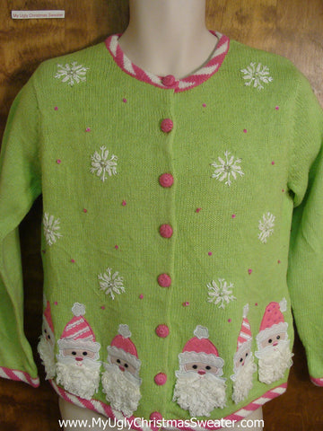 Tacky Pink and Green Jolly Santa Ugly Xmas Sweater