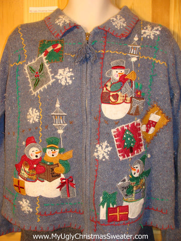 Tacky Cheap Ugly Christmas Sweater with Crafty Quilt-like Design and Festive Carrot Nosed Snowmen (f545)