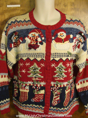 Festive Patterned Snowman and Christmas Tree Ugly Xmas Sweater